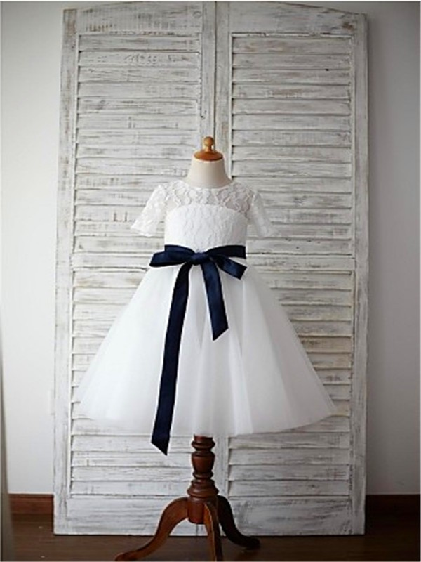 A-line/Princess Scoop 1/2 Sleeves Sash/Ribbon/Belt Floor-Length Tulle Flower Girl Dresses