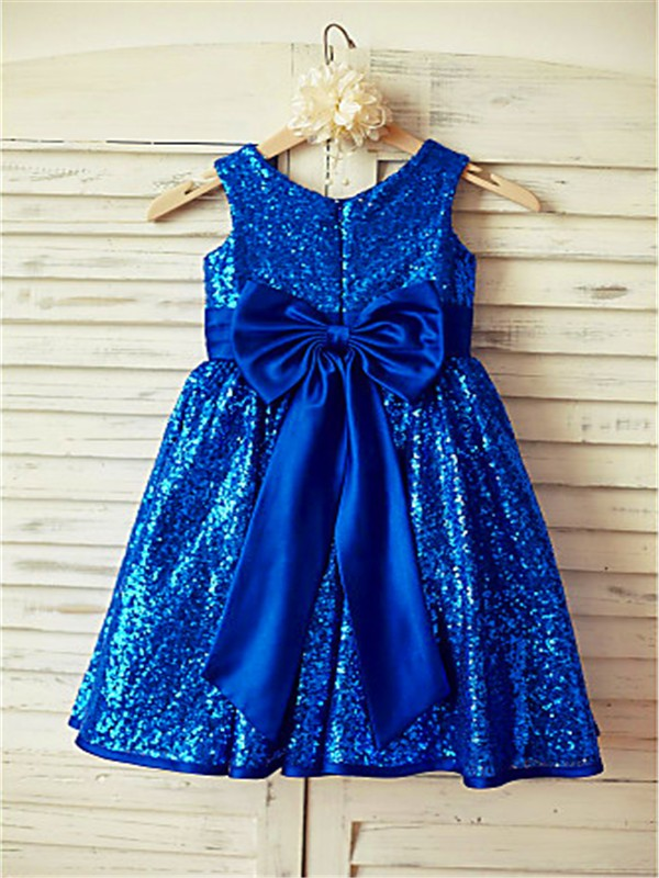 A-line/Princess Scoop Sleeveless Bowknot Tea-Length Sequins Flower Girl Dresses