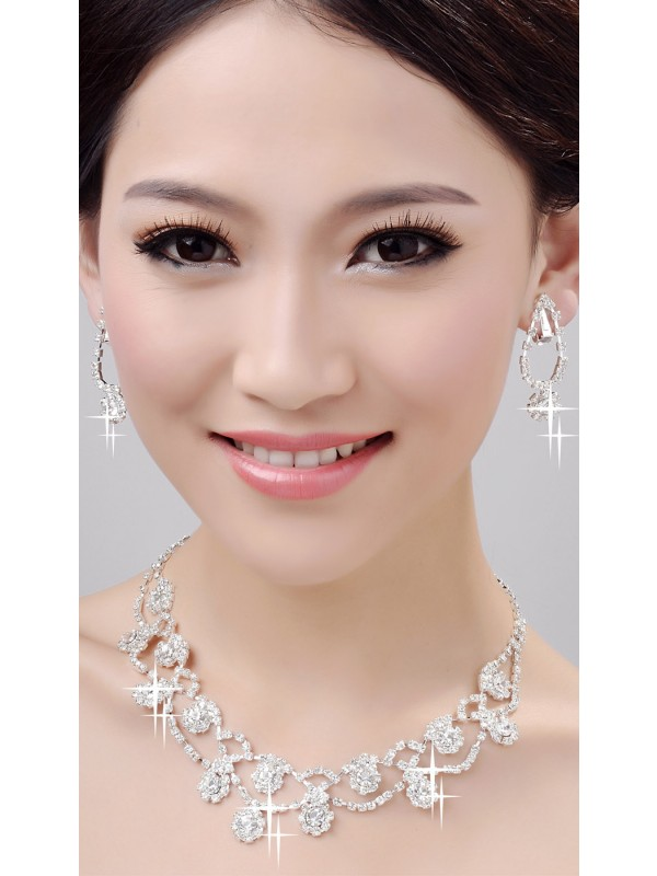 Glamorous Alloy Clear Wedding Kettingen Oorbellen Set