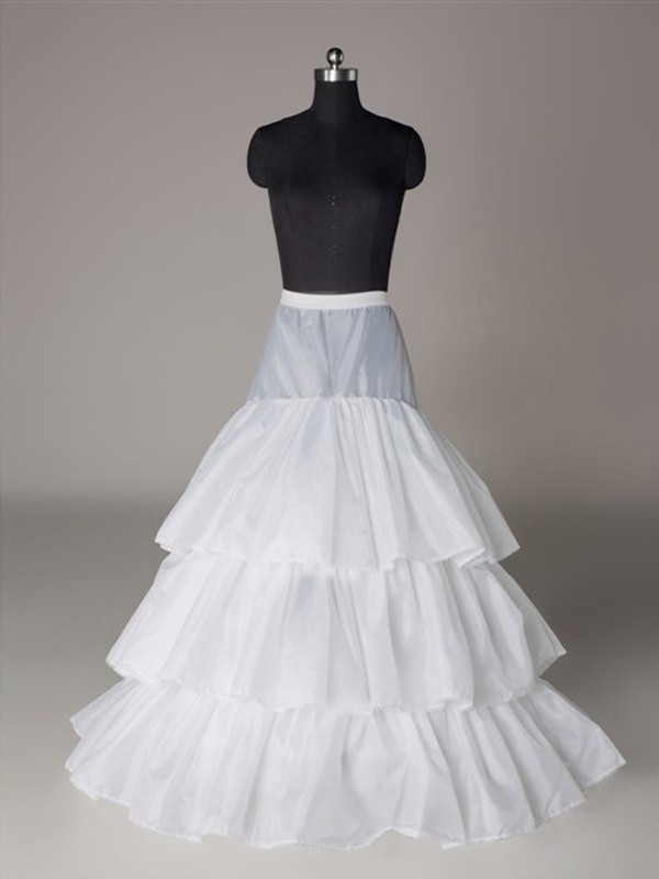 Nylon A-Lijn 3 Tier Floor Length Slip Style Wedding Petticoat