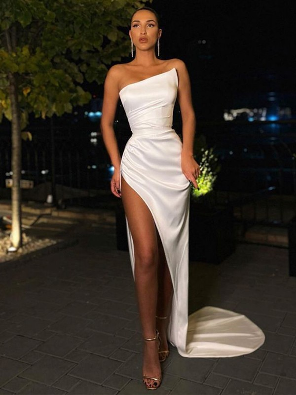 Sheath/Column Strapless Ruched Satin Sleeveless Sweep/Brush Train Dresses