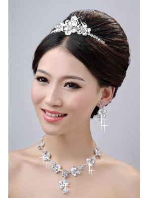 Awesome Alloy Clear Kristal Flower Wedding Party Oorbellen Set