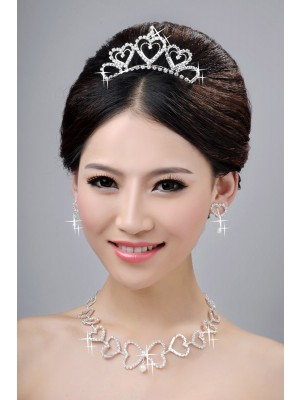 Awesome Alloy Clear Kristal Hearts Wedding Party Oorbellen Set