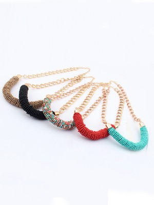 Occident Stylish Multicolor Seed Handwork Round Tube Hot Sale Ketting