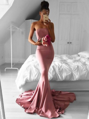 Trumpet/Mermaid Satin Ruffles Strapless Sleeveless Sweep/Brush Train Dresses